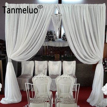 3M*3.5M White chiffon arch drapes for wedding decoration event party stage door curtain decorating rod pocket