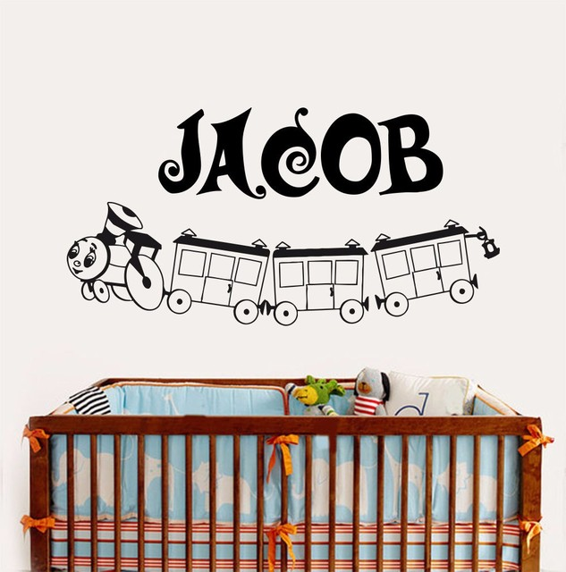 Cute custom made personalised name arrival vinyl wall removable decal wall sticker boy children train