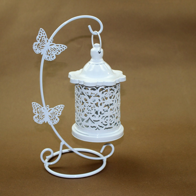 PINNY Moroccan Hollow Iron Lantern Butterfly Hook Decorative Candle Holder Vintage Decorative Cages Metal Wedding Candlestick in Candle Holders from Home Garden