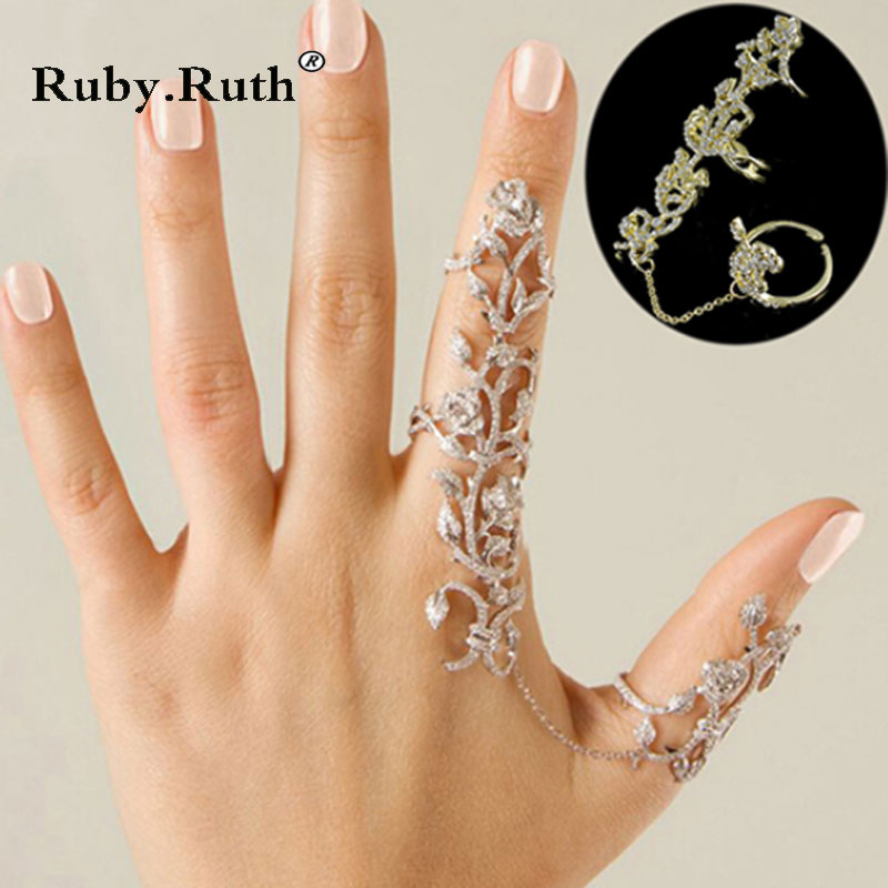 Women Multiple Rose Crystal Band Finger Rings Set Fashion wholesale Jewelry