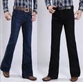 Hombres de invierno más el terciopelo engrosamiento del corte del cargador para hombre mediados de cintura negocio ocasional pantalones vaqueros bengalas pantalones 27-34