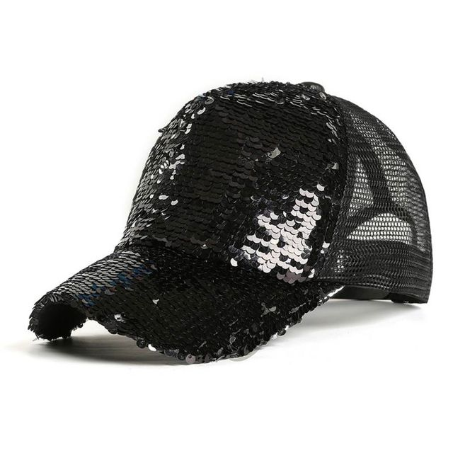 Womens Unisex Messy Bun Ponytail Baseball  Tennis   Cap Reversible Magic Glitter Sequins Contrast Color Mesh Back Adjustable  5