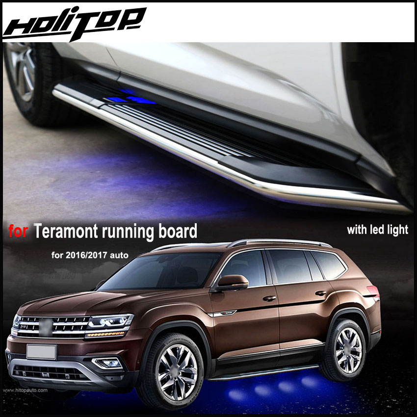 fashion LED light nerf bar foot pedals side step running boards for VW Volkswagen Teramont ,most popular in China at present. 4 hammered blk hd oval side step nerf bars running boards 05 11 dakota club cab