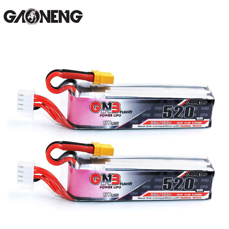 2 шт Gaoneng ГНБ 520 mAh 3 S 11,4 V 80C/160C HV Липо с XT30 разъем для Betafpv Beta85X Whoop indoor FPV Drone RC части