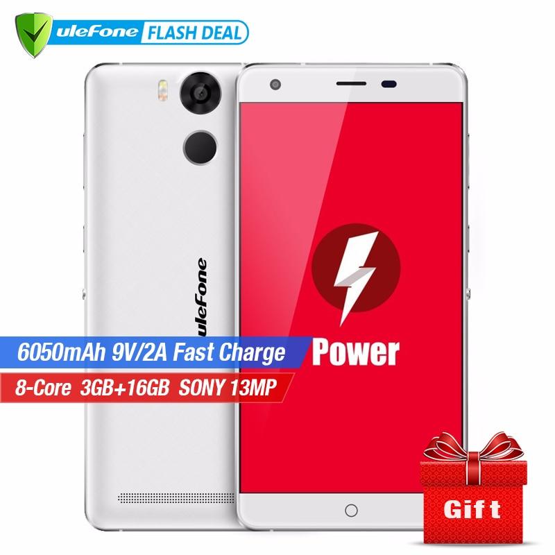 Ulefone Telefono Cellulare Mobile di Potere 5.5 pollice FHD MTK6753 Octa Core Android 6.0 3 gb di RAM 16 gb di ROM Fotocamere 13mp 4g LTE di Impronte Digitali ID 6050 mah