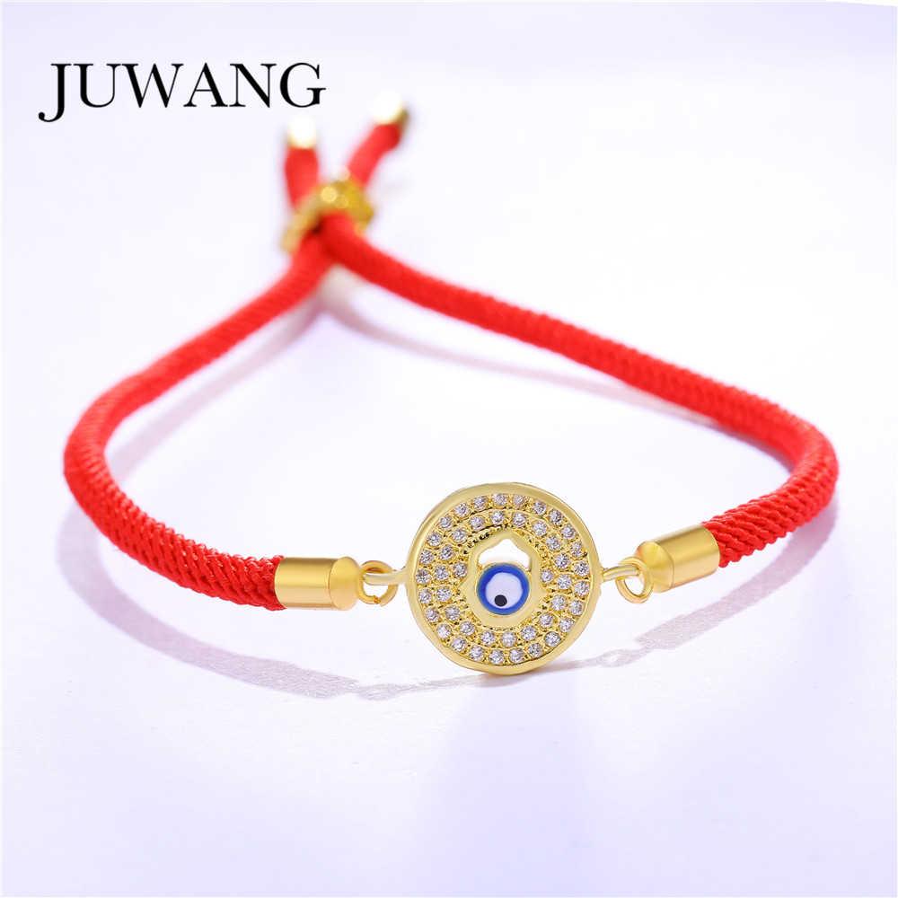 JUWANG rond bleu mauvais oeil Bracelet pour femmes homme réglable chanceux rouge/noir chaîne corde Couple Bracelets amitié bijoux