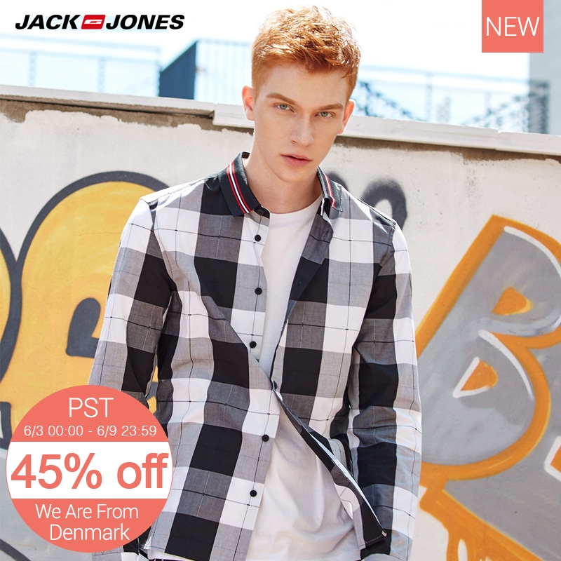 Jack Jones Men Plaid Long Sleeve Shirt M|217305517