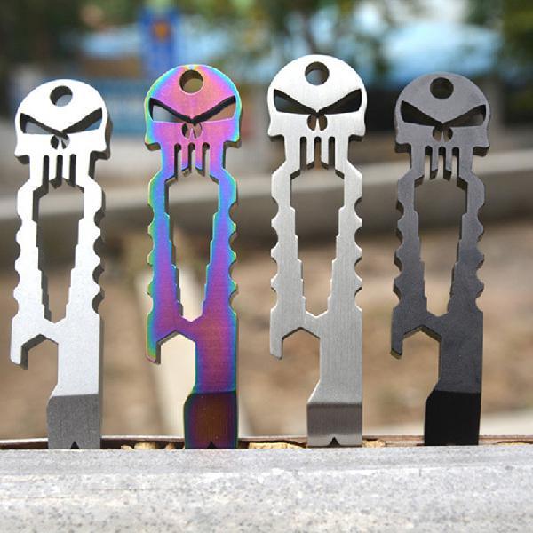 Mounchain Outdoor Multi-functional Stainless Skull EDC Survival Pocket Tool Key Ring Chain Bottle Opener