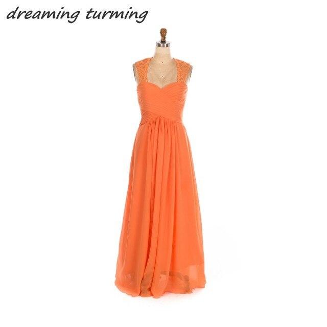 Eine Linie Orange Brautjungfer Kleider Plus Größe Spitze ...