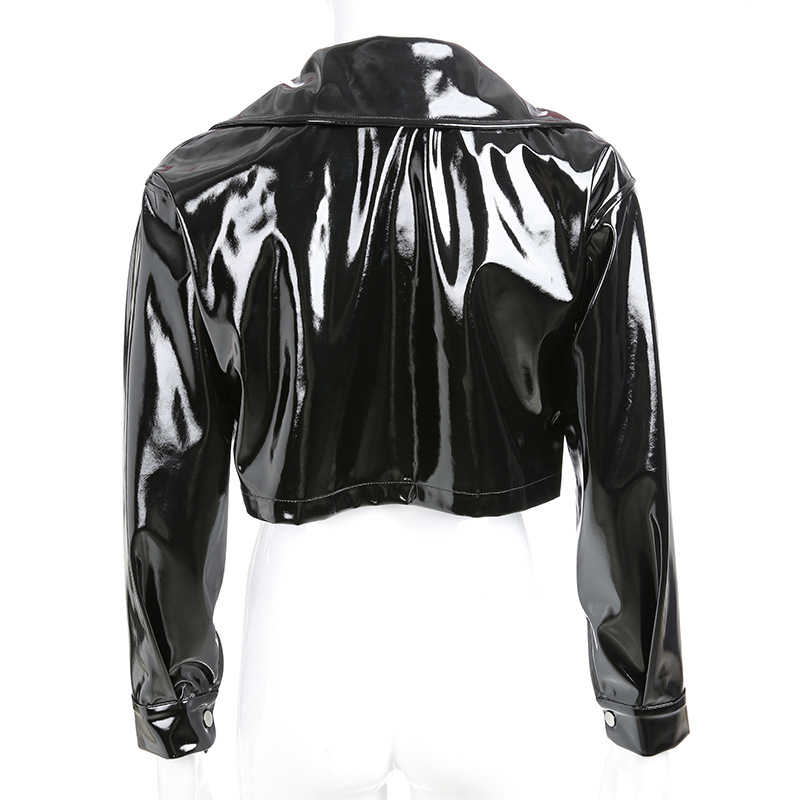 2019 Marka Kylier PU DERİ CEKETLER Kadınlar Yüksek Sokak Katı Patent Deri Ceket Ve Ceket Bayanlar Kısa Ceketler cwj0033-4