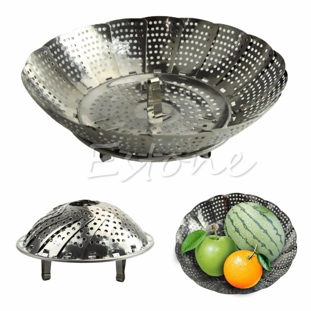 E74  Folding Stainless Mesh Food Dish Egg Vegetable Poacher Steamer Basket Cooker