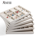 New High-Grade White Linen Jewelry Display Tray Six Different Jewellery Box Holder
