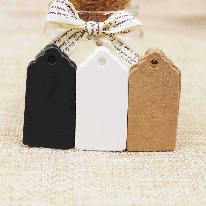 300pcs Kraft /white/black Cardboard 2*4cm Blank Scallop Gift Tag Products Hant Tag For DIY Hang Labels Greeting Card Crafts