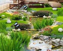 Beibehang Garden grass water carp carpets 3D floor painting bedroom bathroom self - adhesive paste 3d flooring