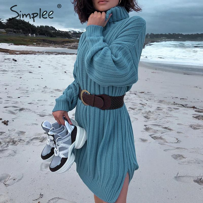 Image 2 - Simplee Elegant knitted dress women Autumn turtle neck female white sweater dress Sexy holiday solid ladies winter teal vestidos-in Dresses from Women's Clothing