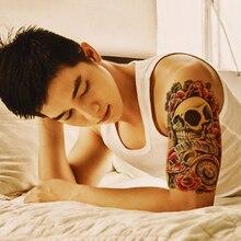 Punk Skull Pattern Transfer Tattoo Sleeve Waterproof Temporary Tattoos For Men Arm 3D Tattoo Sticker For Body Shoulder Tatuajes