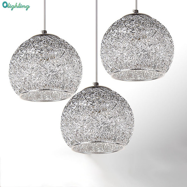 Modern Silver Pendant Light Aluminum Strings Ball Elegant Vintage - Silver kitchen pendant lighting