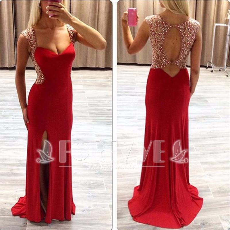 Elegant Red Beaded Pearls   Prom     Dress   Long 2017 Backless Mermaid Formal Party   Dresses   Evening Gowns Vestido De Festa Abendkleider