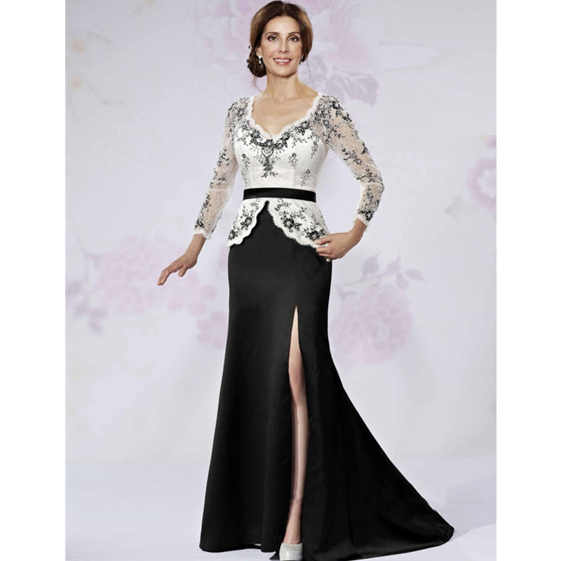 2016 Lace Mermaid Mother Of The Bride Dresses Groom: Modest Mermaid Slit Evening Dress Long Sleeves White And