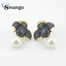 5Pairs, Women Fashion Jewelry,The Insect Shape Pearl Earring.Gold Colors,Can Wholesale