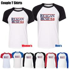 REAGAN BUSH 84 political election funny 80 s retro Republican Printed T Shirt Women s Girl