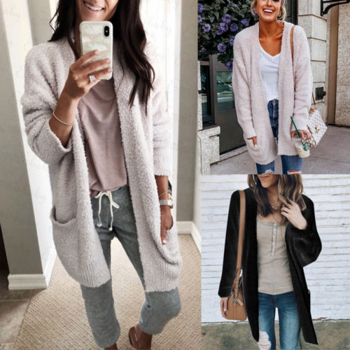 Coat Cardigan Oversized Fashion Coat Warm 2018 Sweater Long Baggy Women Lady Chunky Sweater Casual Coat Woolen New Knit Winter xnxp80wqU7