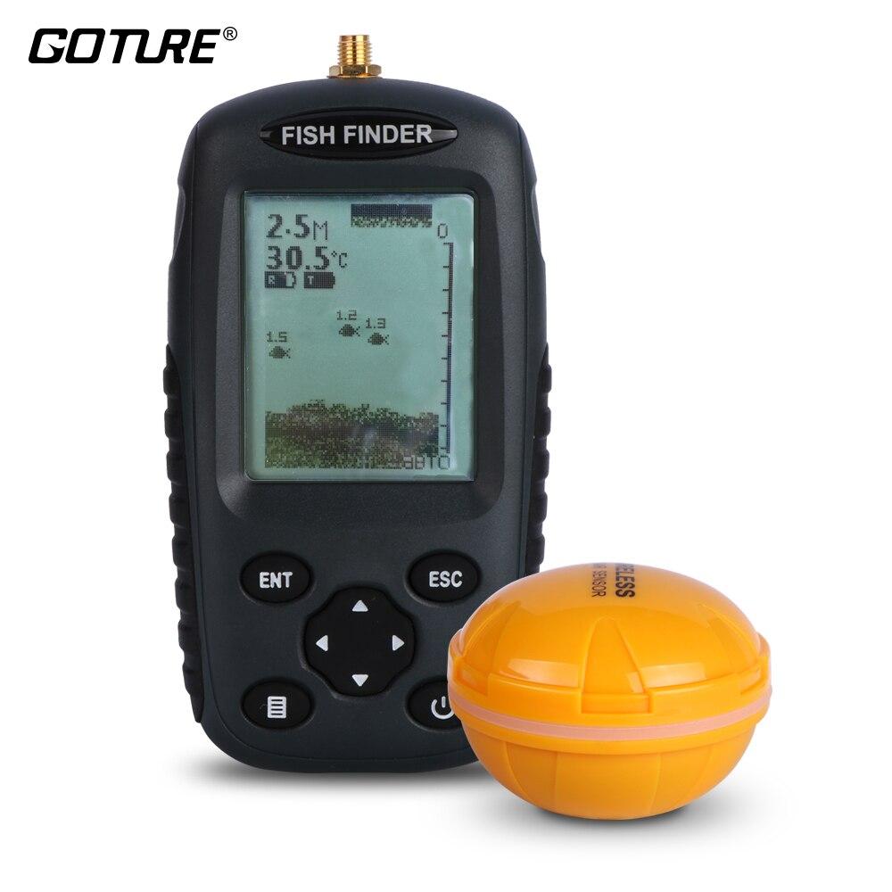 Goture Russo/Inglese Senza Fili del Sensore del Sonar Fish Finder 0.6-40 m di Profondità Ecoscandaglio per L'inverno Pesca Nel Ghiaccio affrontare Fishfinder