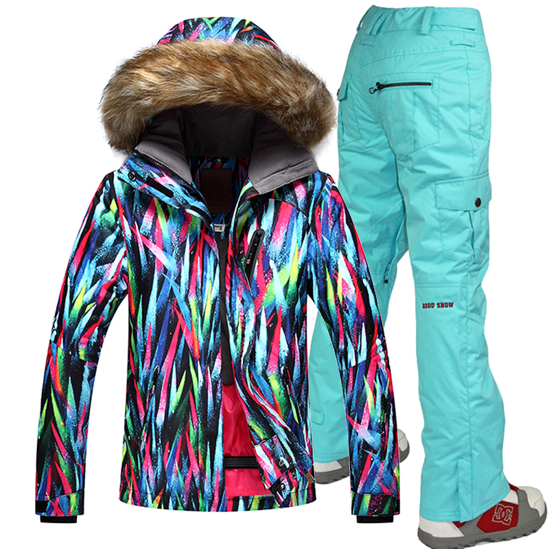 Free shipping Windproof Ski Jackets Breathable Women Skiing Suit Outdoor Sport Waterproof 10K  Gsou Snow  -35 Degree Ski Suits free shipping new hot sale winter lover couple outdoor sport 3in1 twinset water windproof skiing mountaineering jackets 160d321d