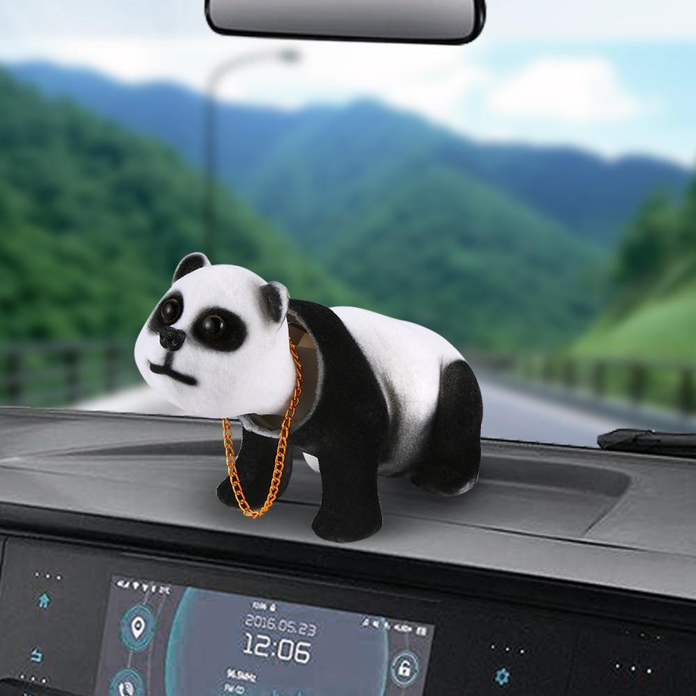 Car Ornament Cute Panda Decoration Doll Auto Interior Dashboard Swing Shaking Head Toys Simulation Animal Decor Accessories Gift