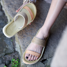 цена на Artmu Original Flat Sole Women Slippers Outside Wear Comfortable Strap-knitted Beach Slippers New Handmade Leather Shoes b11