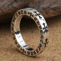 Wholesale S925 Sterling Silver Ring retro Thai silver jewelry ring cross letter female models