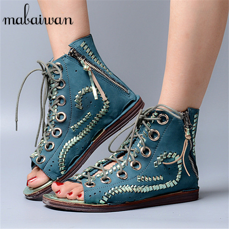 Mabaiwan Women Shoes Genuine Leather Summer Sandals Peep Toe Lace Up Flat Shoes Woman Fringed Gladiator Sandal Hollow Out Flats 2017 summer newest wedge sandal for woman peep toe denim blue lace up platform sandal sexy embroidery gladiator sandal