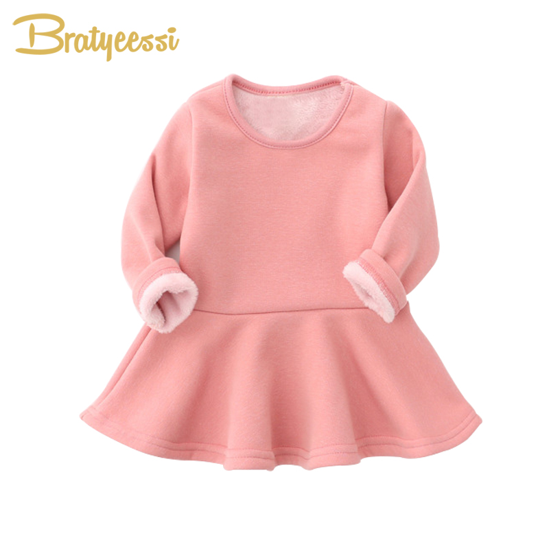 Plush Lining Winter Baby Dress for Girls Ruffles A-Line Infant Girl Dresses Christmas Cotton Kids Princess Dress Multicolor