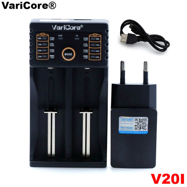 VariCore U4 V10 V20I 18650 Charger 1.2V 3.7V 3.2V AA/AAA 26650 NiMH li ion battery Smart Charger 5V 2A EU/US/UK plug