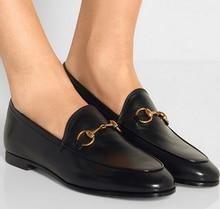 2016หรูหราสุภาพสตรีแข็งสีดำ/เศษไม้Fo veolaผู้หญิงโลหะตกแต่งFull G Rainหนังตราปกส้นรองเท้าคนขี้เกียจ