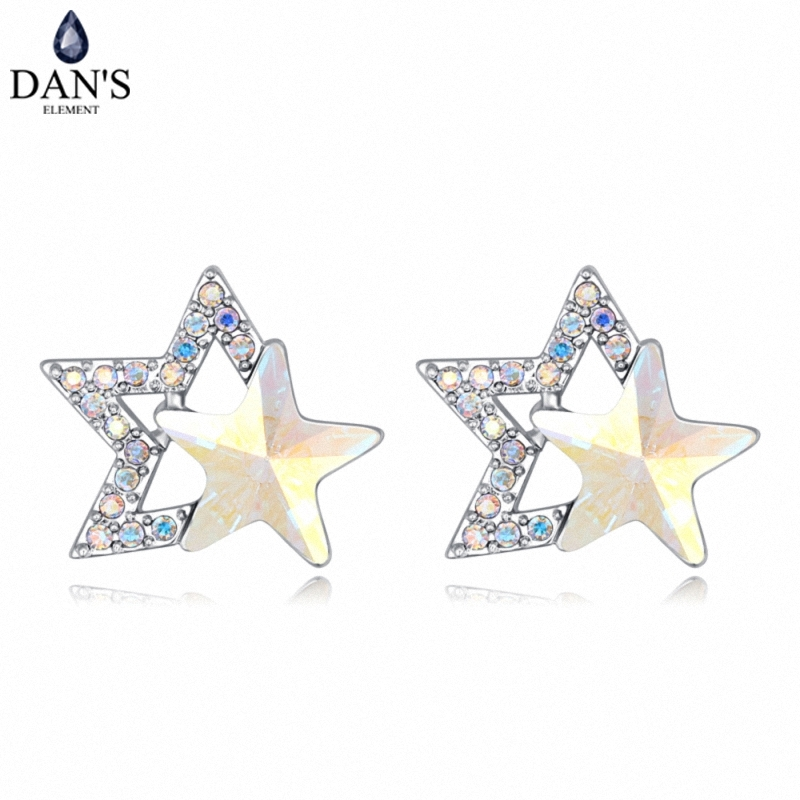 DANS 4 Colors Real Austrian crystals Stud earrings for women Earrings s New Sale Hot Round 127969