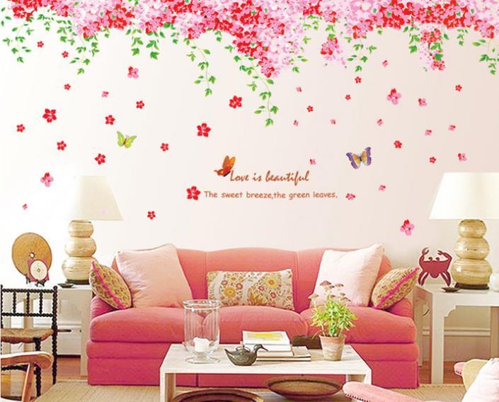 Large Romantic Pink Sakura Wall Stickers Mural Home Decor Cherry