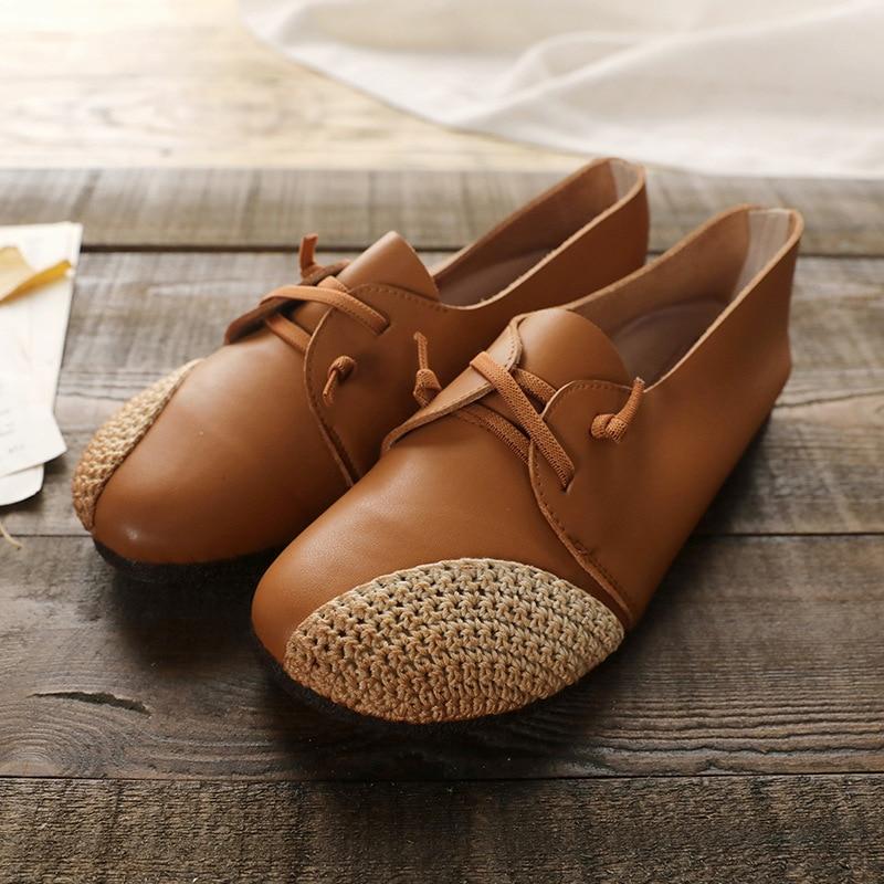 Encaje Pie Del Genuino brown Dedo Mezclado Planos 2019 Redondo Casuales Suela Mujeres Las coffee Mujer La Primavera De Beige Color Cuero Suave Zapatos FvqZcpw