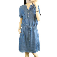 2017 New Summer Korean Slim Was Thin Loose Elastic Waist V Neck Short Sleeve Denim Dress