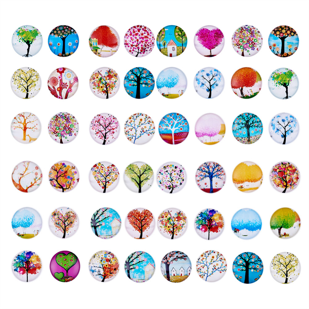 PEPPERLONELY 10PC Flowers Printed Dome Glass Cabochons Round Flat Back for Cabochon Bezel Settings 30mm
