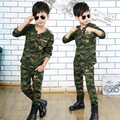 2017 Primavera Otoño Niños Muchachos Determinados de la Ropa de Manga Larga de Camuflaje Uniforme Militar 2 Unids Ropa de entrenamiento Del Ejército Niños Del Juego Del Deporte