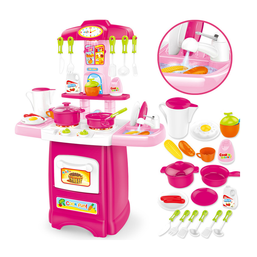 62CM Kids Kitchen Toys Set Cooking Table Real Life Cooker Kitchenware Food Pretend Play Learning Toys