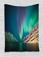 Nature Decor Tapestry Mystical Northern Lights Above Rocky Hills Magnetic Poles Solar Space
