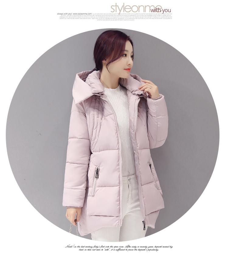 ФОТО Of the 2016 new winter long hooded cotton-padded jacket collars thickening cotton-padded clothes female students coat