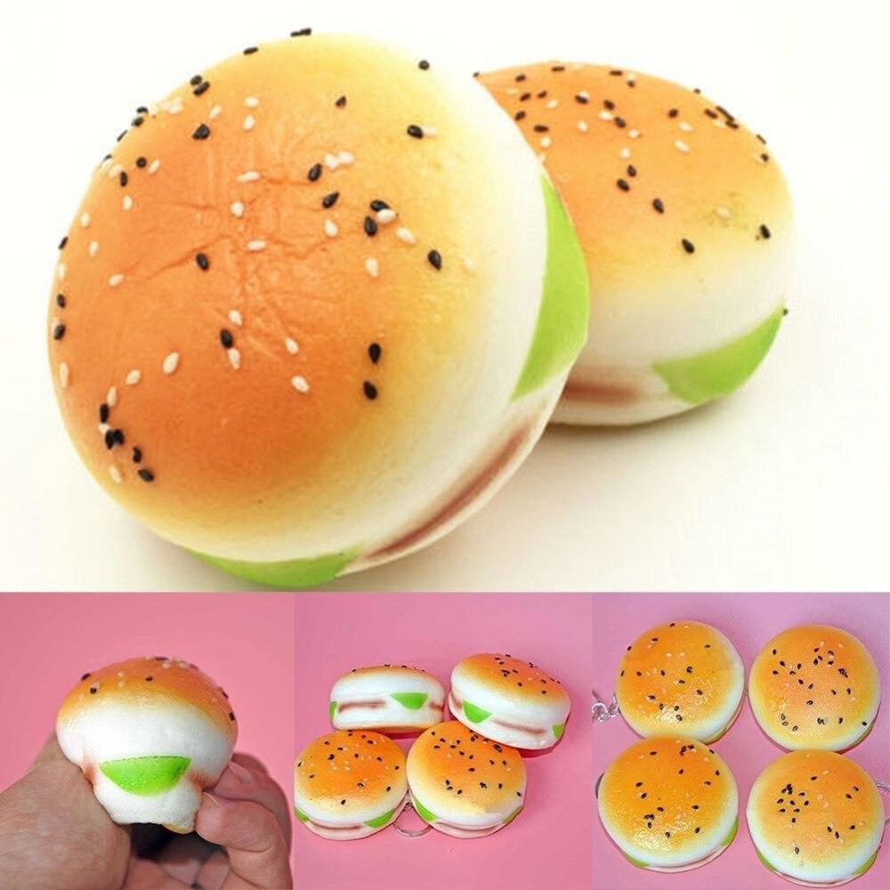 Squishy Hamburger : 5CM Sesame Squishy Hamburger Phone Straps Bread Scent Soft Bun Charms Key Chain Food ...
