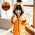Christmas Child Winter Long Duck Down Jacket with Glasses Boys Girls Thick Hooded Parkas Kids Spiderman Outerwear Halloween