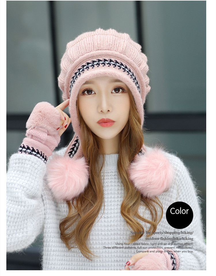 New Autumn And Winter Korean Version Of The Warm Women Hat Gloves Set Knitted Hair Ball Two Sets Of Ladies Thickening HC37 (7)