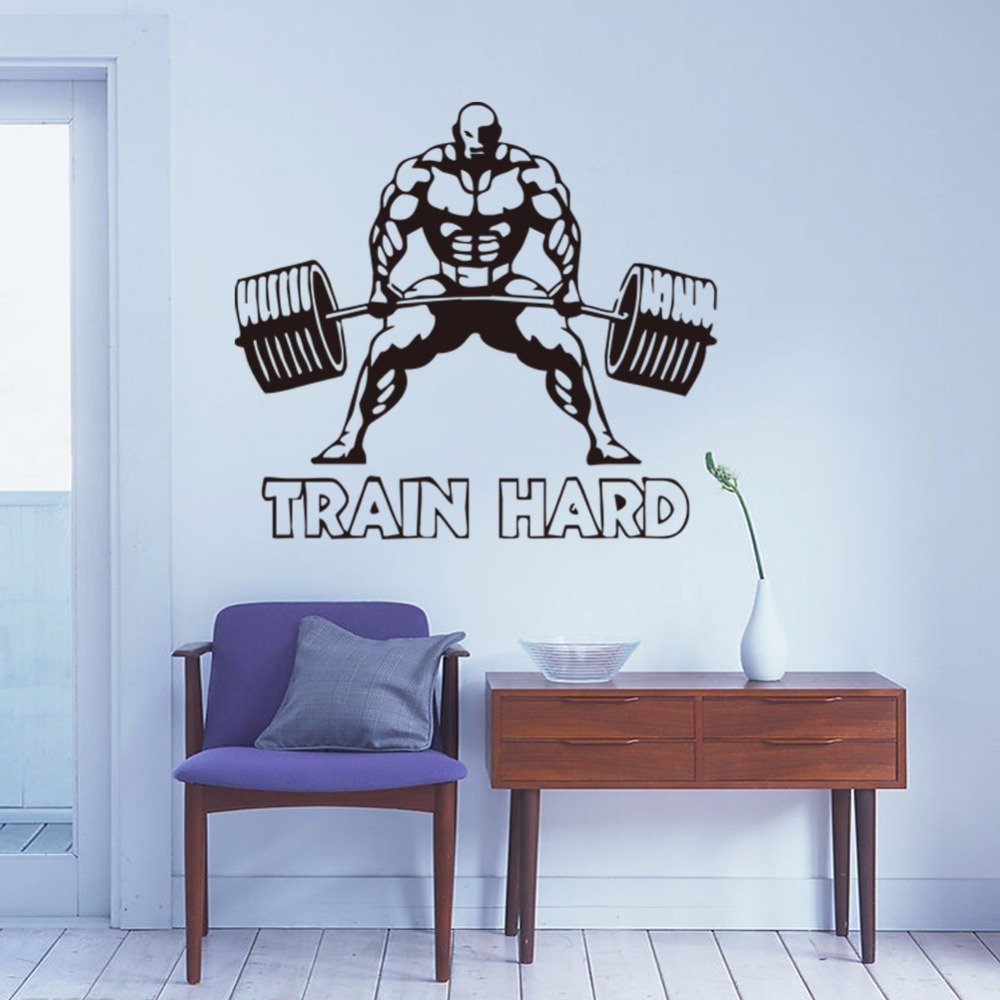 Customized weightlifting sports wall stickers kids room living customized weightlifting sports wall stickers kids room living room boys bedroom wall painting sofa tv bedside background decals in wall stickers from home amipublicfo Images