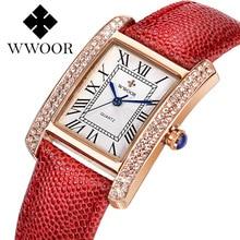 WWOOR Women's Quartz Watches Ladies Dress Diamonds Crystal Wristwatch Genuine Leather Band Square Shape 2019 relogio feminino