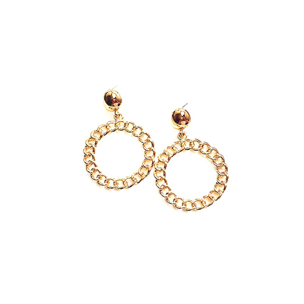 2017 new fashion Women  Earrings  Hollow Chain Pattern Eardrop Dangle Statement Charm Round Big Circle Earring Jewelry